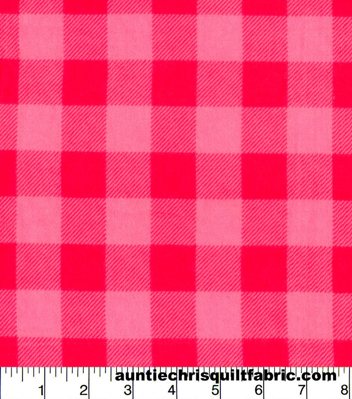 Cotton Flannel Quilt Fabric Pink Buffalo Check Plaid - product images  of