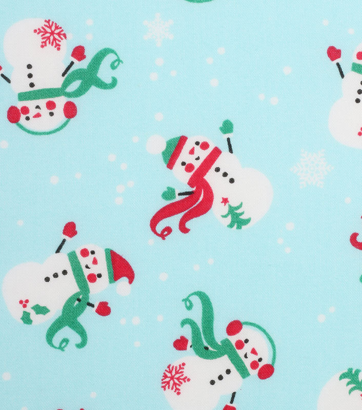 Cotton Quilt Fabric Christmas Holiday Showcase Tosses Snowmen Blue - product image