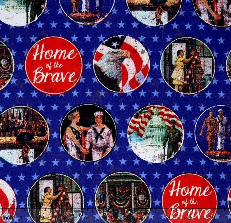 Cotton Quilt Fabric Home Of The Brave Patriotic Army Navy