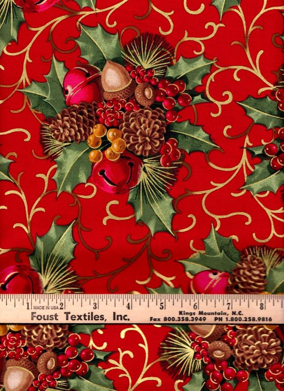 Pine Cones 100/% Cotton Fabric Cream with Flowers Red//Pink//White//Blue Berries