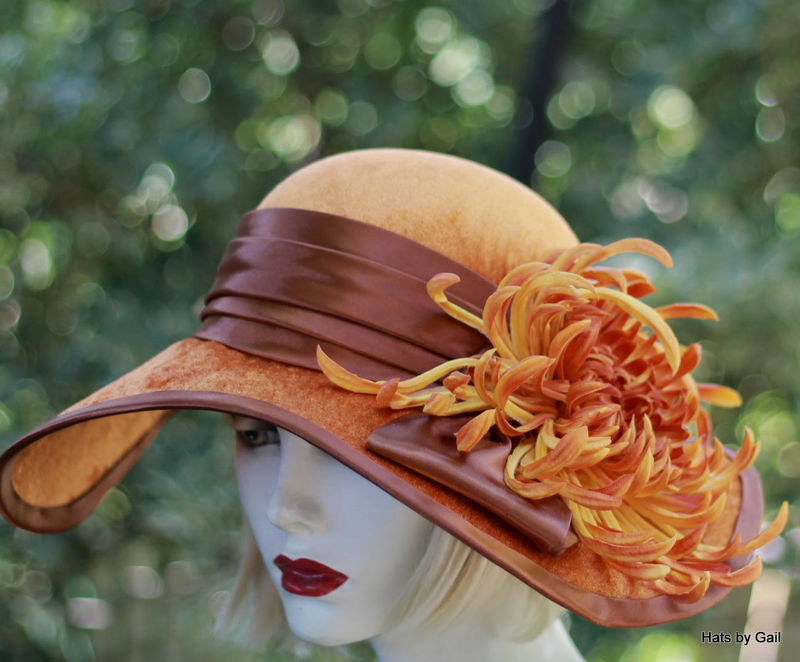 Victorian Costume Wide Brim Velvet Hat with Large Flower - Hats by Gail
