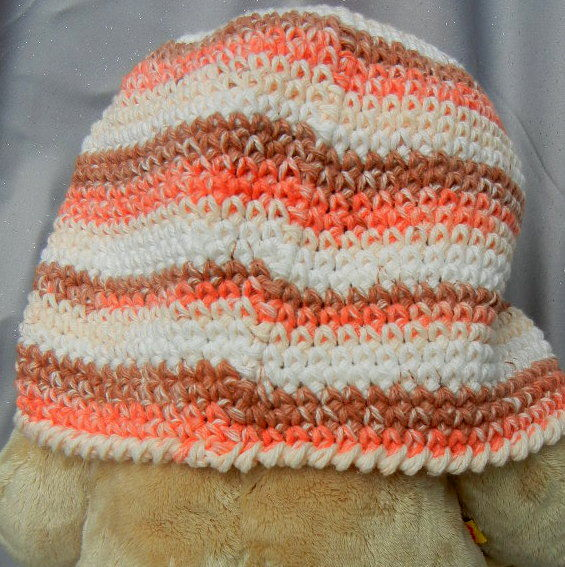 Crochet Hat Beanie Brown and White Adult Size - product image