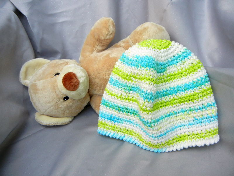 Crochet Hat Beanie Turquoise and Green - product image
