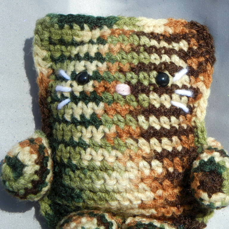 Camouflage Crochet Cat Plushie Stuffed Animal - product image