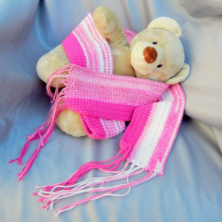 Pink Striped Cotton Crochet Scarf - product image