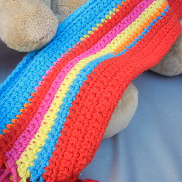 Cotton Crochet Scarf Red Pink and Blue - product image