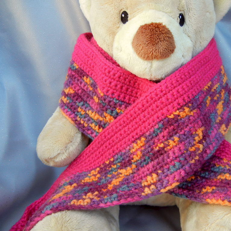 Wool Crochet Scarf Fuchsia Multicolor - product image