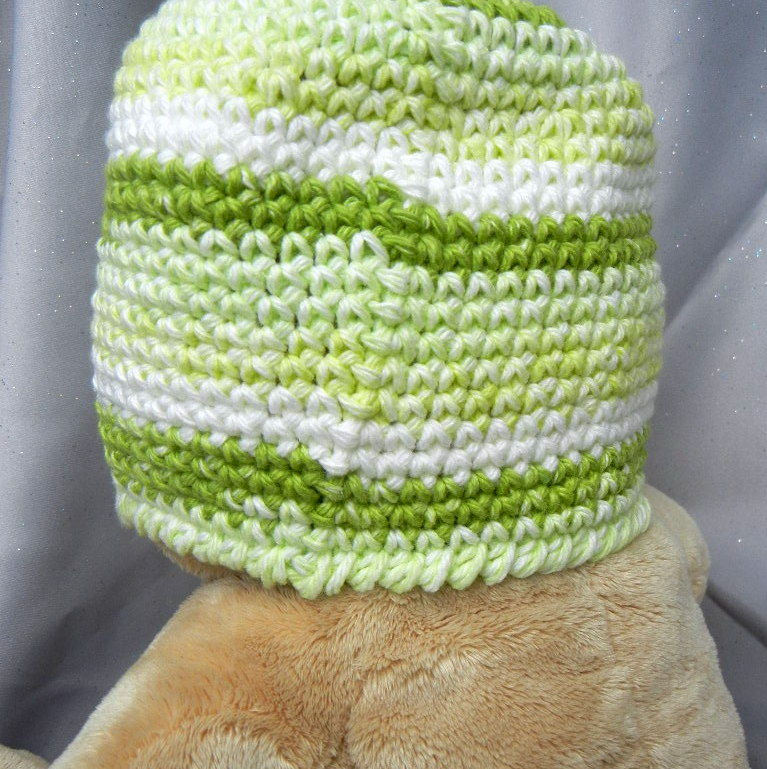 Crochet Kids Hat With Green Stripes - product image