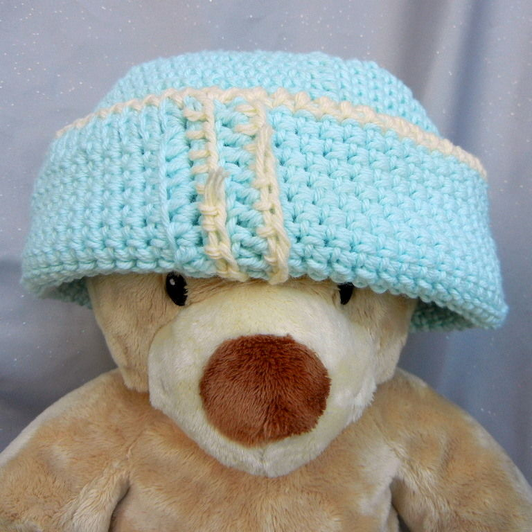 Crochet Beanie Hat Aqua With Yellow Trim - product image