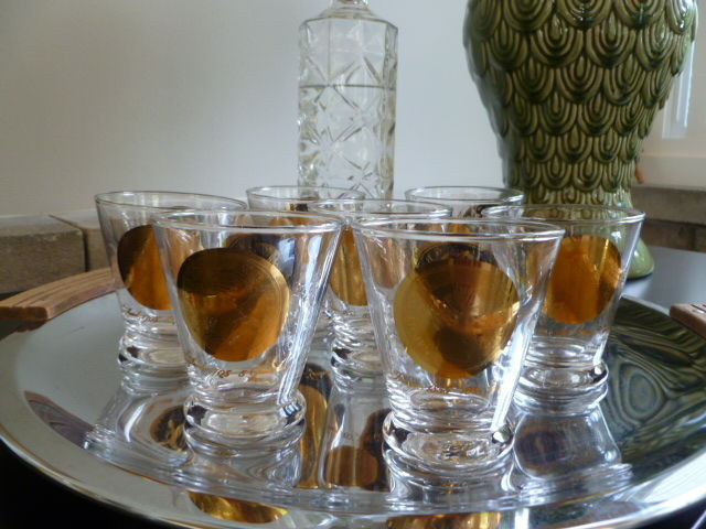 Vintage Mid Century Gold Coin Cocktail Glasses, low ball style or double shot glasses
