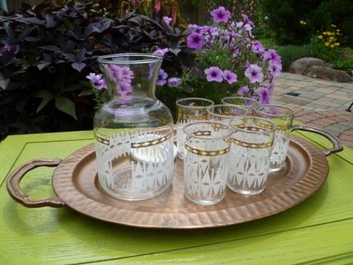 Federal Glass  Carafe White and Gold Accent and 6 Matching Glasses