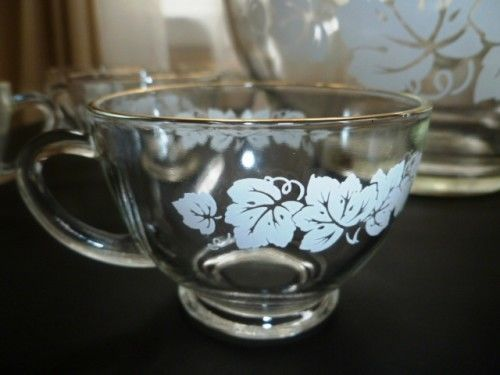 Vintage Anchor Hocking Punch Bowl Set for 12, White Grape Leaves adorn Bowls - product images  of
