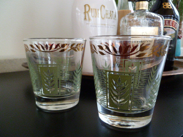 Vintage On the Rocks Cocktail Glasses or Low Ball Glasses, Dominion Glass Mid Century Bar, Rocks Glasses  - product images  of