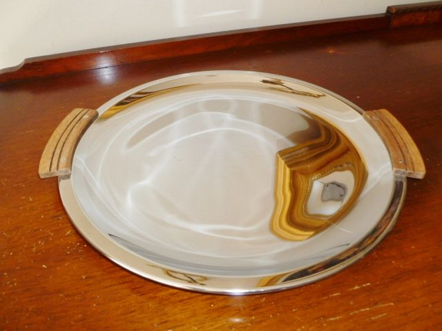 Vintage Kromex Chrome Serving Tray, Mid Century Design with Wooden Teak Handles - product images  of