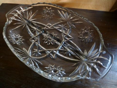 Cut,Glass,Relish,Tray,,Anchor,Hocking,Prescut,Star,of,David,Garnish,or,Nut,Dish,Anchor Hocking, Relish Tray, nut dish, Prescut glass, Star Of David, cocktail party accessories,Early American Prescut glass,candy dish cut glass