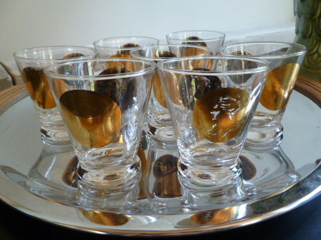 Vintage Gold and Black Coin Lowball Cocktail Glasses, Set of Four - product images  of