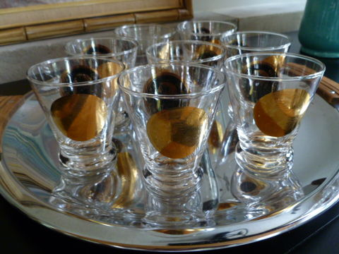 Vintage,Gold,and,Black,Coin,Lowball,Cocktail,Glasses,,Two,Set,of,Four,lowball glasses, cocktail glasses, mid century cocktail glasses, gold coin glassware, vintage cocktail, on the rocks glasses, 22kt. gold design, gold cocktail glasses, stemless martini glasses,black & gold cocktail glasses, schnapps glasses, double shot g