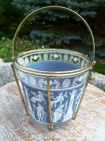 Vintage,Jeanette,Mid,Century,Glass,Ice,Bucket,with,Brass,Holder,,Greek,,Hellenic,,Corinthian,,Wedgewood,Blue,,Mid century Glass Ice Bucket, Jeanette Ice Bucket, Hellenic Jeanette Ice Bucket, Glass Ice bucket with brass holder, Wedgewood Blue glass Ice bucket, Jasperware blue, Greek design, Brass and glass ice bucket