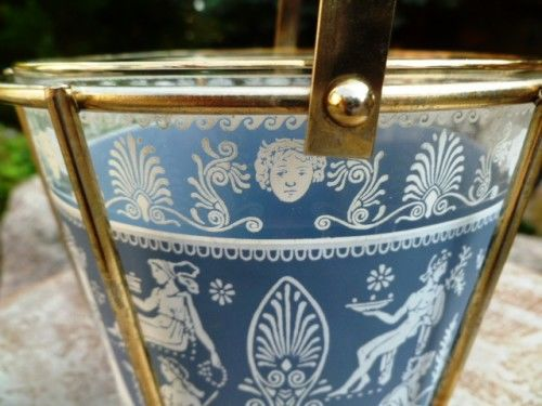 Vintage Jeanette Mid Century Glass Ice Bucket with Brass Holder, Greek, Hellenic, Corinthian, Wedgewood Blue, Glass Ice Bucket - product images  of