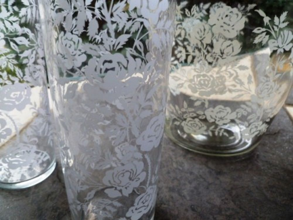 Vintage Libbey Iced Tea Pitcher and Glass Set, White Rose Pattern set of 3 - product images  of