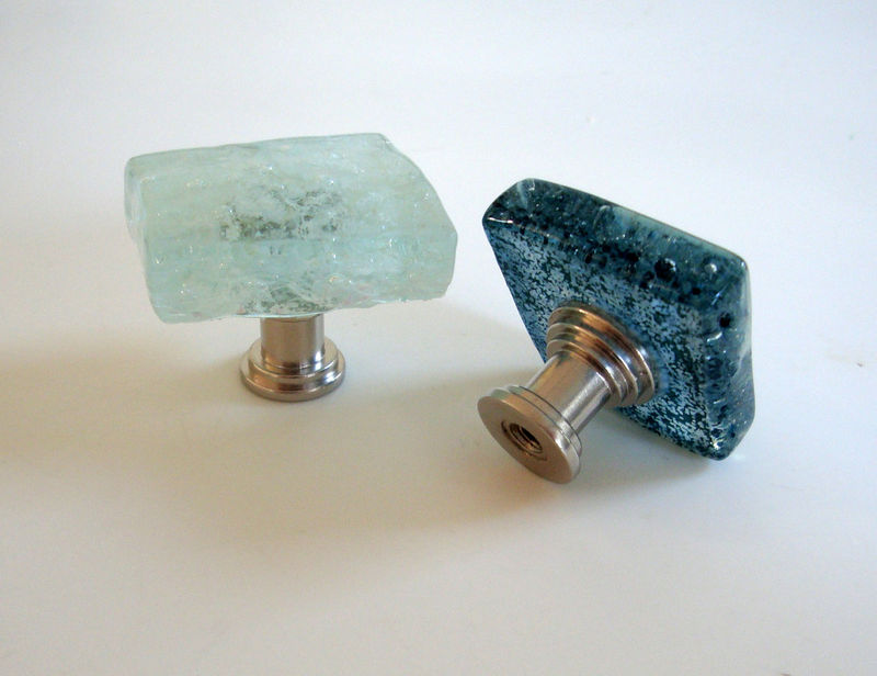 Fused Glass Cabinet Knob Caramel Drawer Pull Handmade Hardware - product images  of