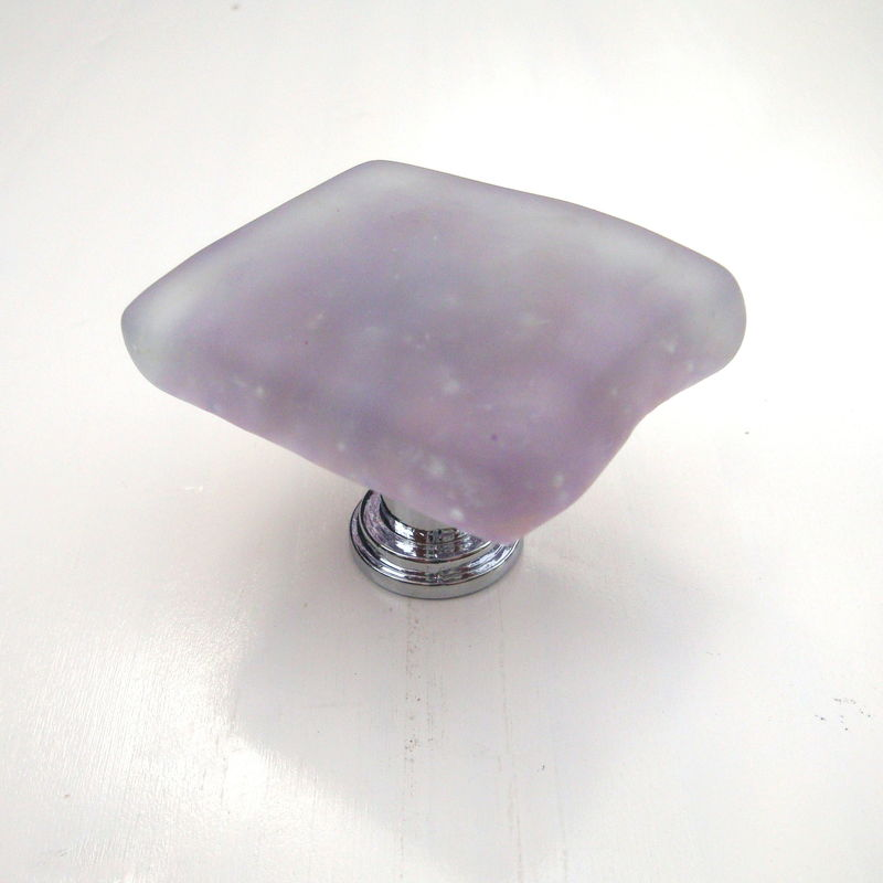 Lavender Frosted Fused Glass Beach Cabinet Knob Drawer