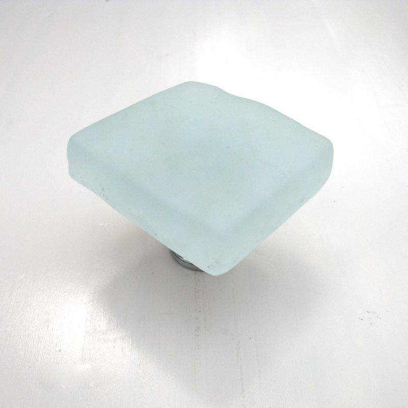 Frosted White Fused Glass Beach Cabinet Knob Drawer Pull $20 - product images  of