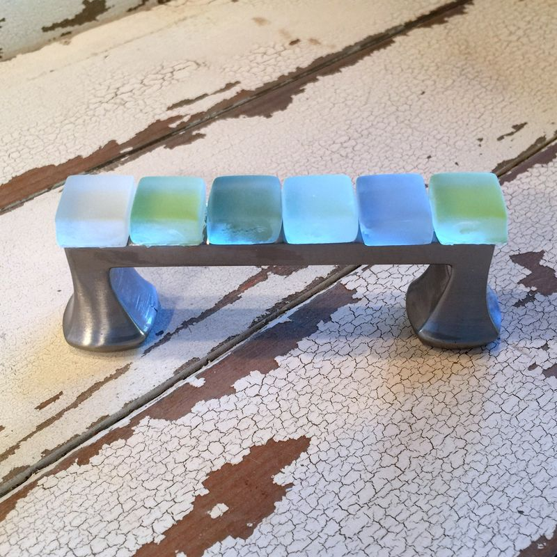 Beach Glass Drawer Pull 3 inch Sea Cabinet Handle $28 - product image