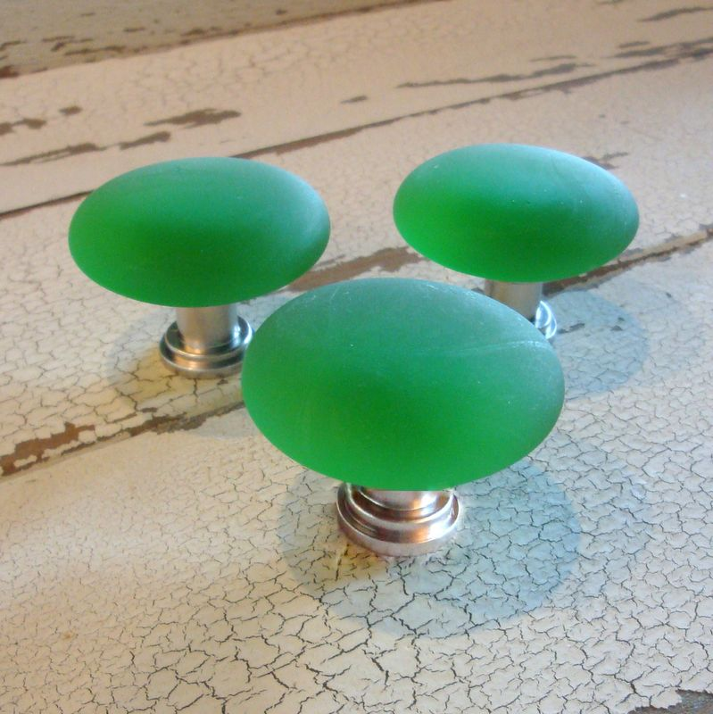 Beach Glass Cabinet Knob Drawer Pull Green or Amber $12 - product images  of
