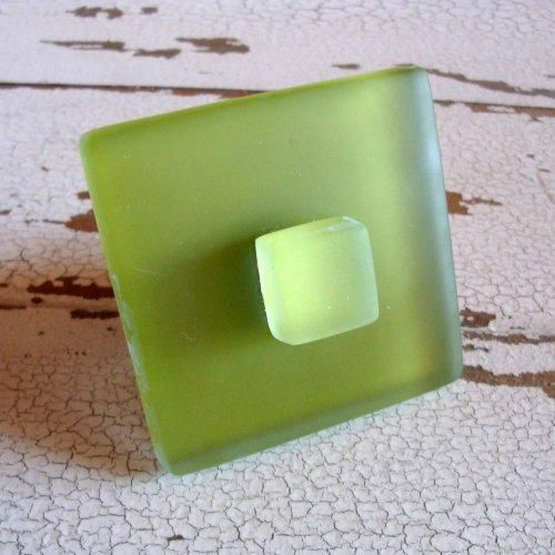 Beach Glass Tile Cabinet Knob Drawer Pull Sea Glass - product images  of