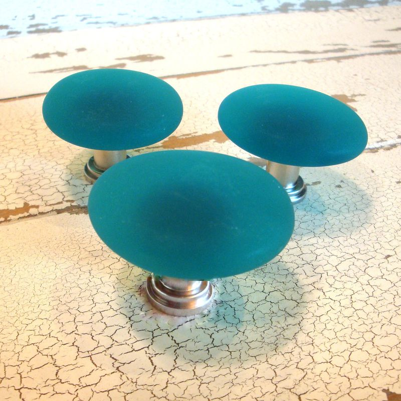 Teal Beach Glass Cabinet Knob Drawer Pull   Product Images Of