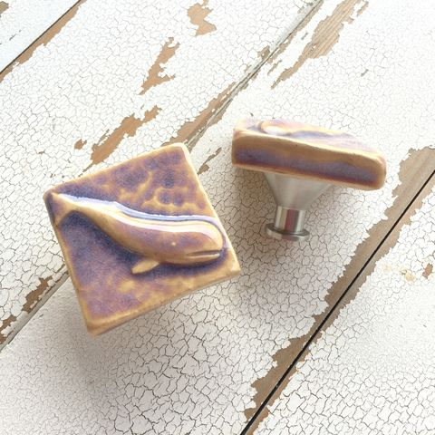 Whale,Art,Tile,Cabinet,Knob,Drawer,Pull,Lilac,tile,hardware,clay,pottery,glaze,Furniture, Dresser, fixture, cabinet, drawer, lilac, hook, knob, pull, desk, starfish, sea, shell, ocean