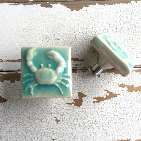 Art,Tile,Cabinet,Knob,Drawer,Pull,Crab,Turquoise,Pottery,handmade emu tile,cabinet knob hardware,Housewares, Fixture, Knob, cabinet, drawer, pull, furniture, handle, pottery, ceramic, , knob, knobs, cabinet knobs,  horseshoe crab