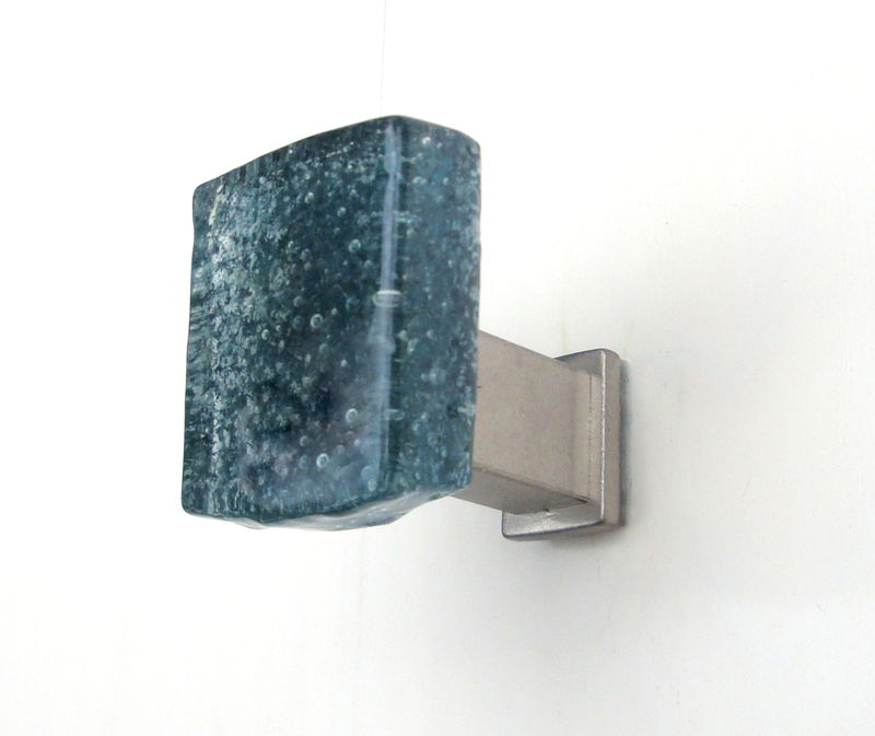 Fused Glass Wall Robe Jewelry Hook Handmade Deep Teal $22 - product images  of