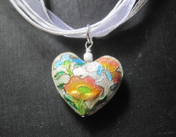 Floral Heart Cloisonne White Ribbon Necklace - Vamps Jewelry Gothic Victorian Jewelry