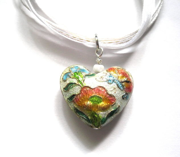Floral Heart Cloisonne White Ribbon Necklace - product images  of