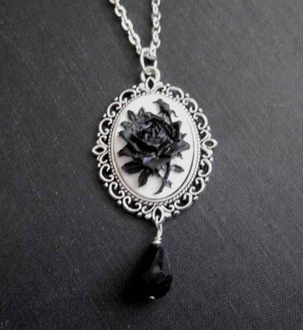 Gothic black rose cameo necklace vamps jewelry gothic victorian gothic black rose cameo necklace product images of aloadofball Choice Image