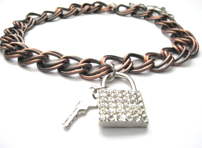 Lock and Key Metal Chain Collar Choker - product images  of