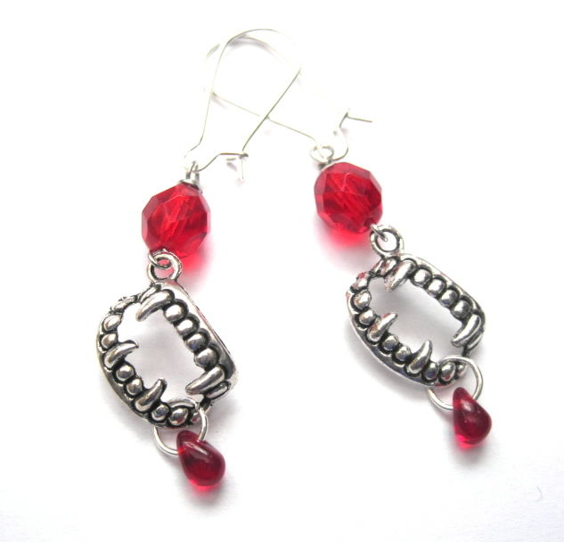 Vampire Teeth Fang Dangle Earrings, True Blood Thirst Halloween - product images  of