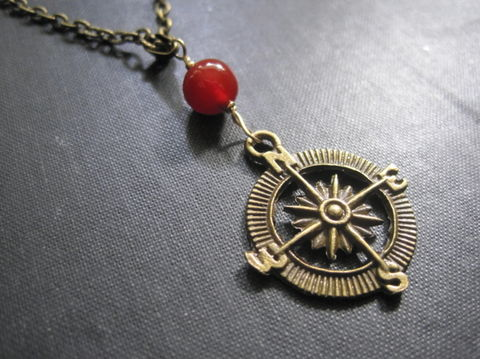 Brass,Compass,Red,Agate,Nautical,Necklace,brass, compass, red agate, nautical necklace, adventure, unisex necklace, handmade, jewelry, vamps jewelry, gemstone, nautical jewelry