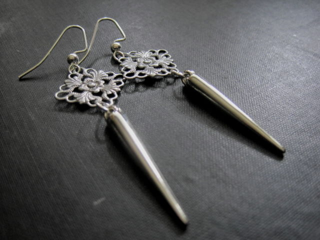 Victorian Vampire Spike Filigree Dangle Earrings - product images  of
