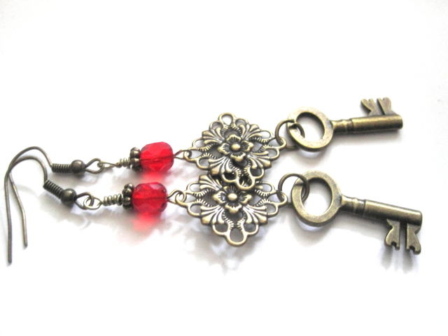 Victorian Vampire Brass Key Filigree Dangle Earrings - product images  of