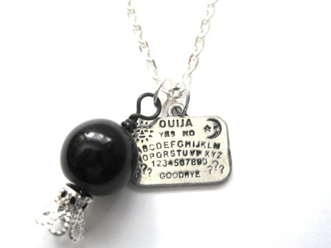 Gothic,Ouija,Board,Black,Crystal,Ball,Necklace,Gothic Ouija Board Black Crystal Ball Necklace, occult necklace, spirit board necklace, vamps jewelry, crystal ball necklace, gothic jewelry, talking board necklace, black crystal ball, mystic jewelry