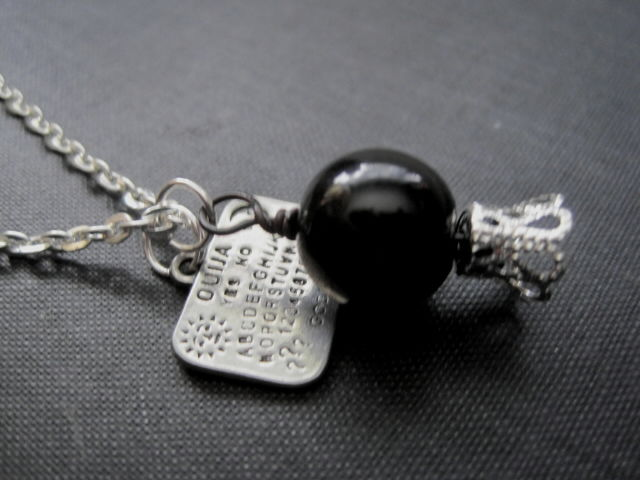 Gothic Ouija Board Black Crystal Ball Necklace - product images  of