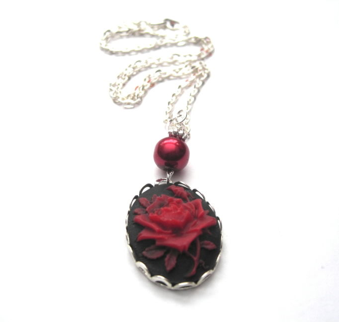 Red Rose Cameo Necklace Vamps Jewelry Gothic Victorian