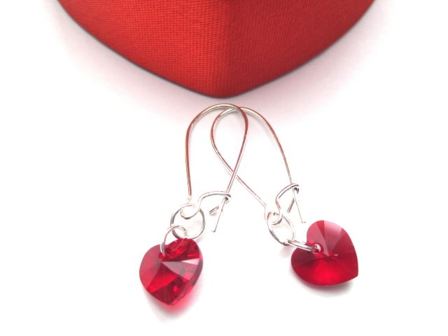 Red Swarovski Crystal Heart Dangle Earrings Product Images Of
