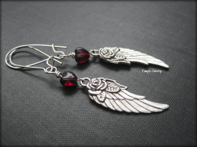 Red Garnet Heart Angel Wing Dangle Earrings