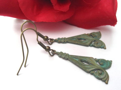 Verdigris,Brass,Nouveau,Dangle,Earrings,Verdigris Brass Nouveau Dangle Earrings