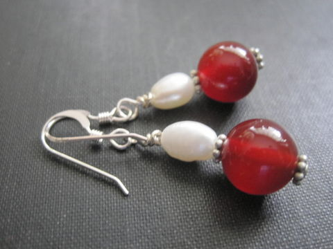 Sterling,Silver,Red,Carnelian,,Fresh,Water,Pearl,Dangle,Earrings,Sterling Silver Red Carnelian, Fresh Water Pearl Dangle Earrings