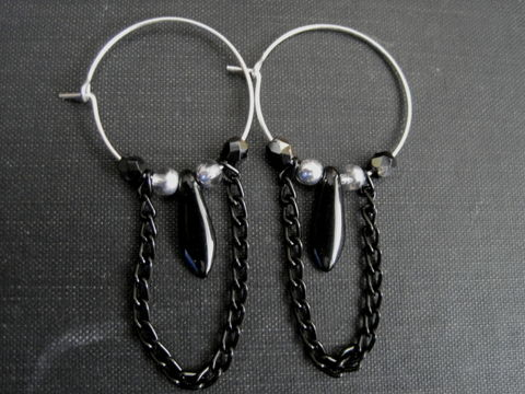 Sterling,Silver,Filled,Hoops,Black,Chain,Dangle,Earrings,Sterling Silver Filled Hoops Black Chain Dangle Earrings